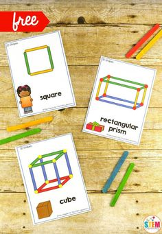 Building Shapes STEM Cards Kids will have an awesome time building popular and shapes with these free STEM task cards! Just like our mega pack of toothpick structures and famous landmark cards, these STEM challenges use simple materials so you can ea 3d Shapes Kindergarten, Kindergarten Stem, Preschool Activities, Stem Preschool, Preschool Learning, 3d Shapes Activities, Stem Activities, Geometry Activities, Learning Shapes