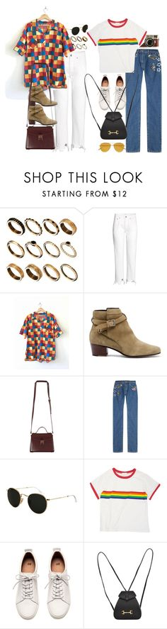 """Inspired sets with rainbow pieces (requested)"" by nikka-phillips ❤ liked on Polyvore featuring ASOS, Sole Society, Leica, Marc Jacobs, Ray-Ban, H&M, Gucci and Tomas Maier"