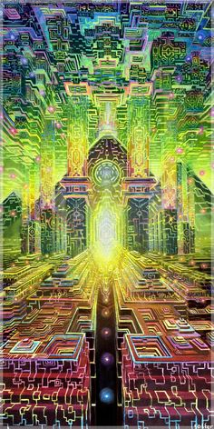 Jonathan Solter is a visionary artist specializing in higher dimensional travel, ancient civilizations and animism. His beautifully depicted scenes hold resonance with psychonauts and transcendental meditators alike. Psychedelic Art, Acid Art, Psy Art, Visionary Art, Fractal Art, Oeuvre D'art, Sacred Geometry, Trippy, Fantasy Art