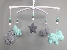 DIY instructions: Mobilé from hippos crochet yourself via DaWanda.com