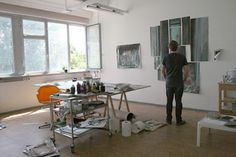 Arjan van Helmond in his atelier in Berlin Dutch, Berlin, Van, Desk, Contemporary, Interior, House, Painting, Furniture
