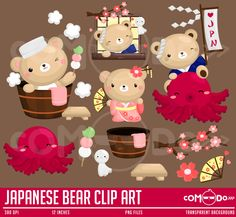 Japanese Bear Cute Clipart / Japan Digital Clip Art for Commercial and Personal Use / INSTANT DOWNLOAD by comodo777 on Etsy