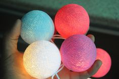Cotton ball string light in mix cream light and mix pink ...