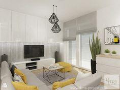 Projekt mieszkania na Bielanach o pow. 51,5 m2. - Mały salon z tarasem / balkonem, styl nowoczesny - zdjęcie od 4ma projekt