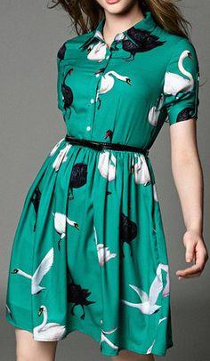Swan Print Shirt Dress-Green