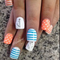 21 Nautical Nail Art Ideas That Will Rock Your World . Just finished my nails for a big day at Mal Get Nails, Fancy Nails, Love Nails, How To Do Nails, Pretty Nails, Gorgeous Nails, Nail Art Orange, Nautical Nail Art, Nautical Anchor