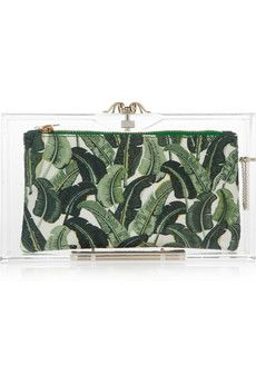 """Dill Gherkins"" come to mind?!  Take a quick look from ""far enough"" away!  See what I see?!  Yes, eye dr. appt. sched.!!!  Charlotte Olympia, Pandora Perspex box clutch, $845"