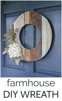 This DIY wreath made from reclaimed wood is the perfect farmhouse decor for your front porch. It is such a simple DIY project and will make your home stand out from every other home on the street. Wreath Hanger, Diy Wreath, Wreath Ideas, Fall Home Decor, Autumn Home, Wood Wreath, Fall Diy, Fall Wreaths, Simple Diy