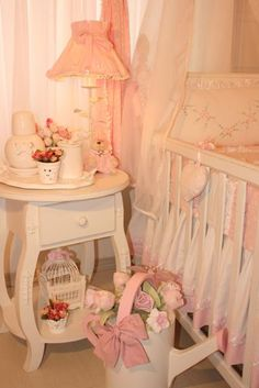 soft and pretty.this looks like a classic little girls room Baby Bedroom, Nursery Room, Girl Nursery, Girls Bedroom, Bebe Baby, My Baby Girl, Little Girl Rooms, Nursery Inspiration, Decoration