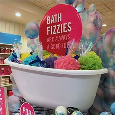 Fizzies and Poufs Display Bath and Body Works - Bath and Body Ca Works Shop, It Works, Bath And Body Perfume, Retail Signage, Body Soap, Body Lotion, Bath Candles, Barbie Birthday, Body Photography