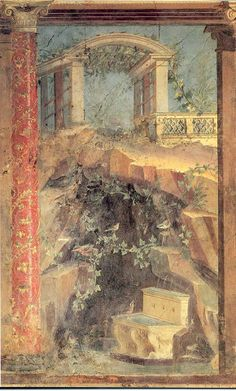 Detail of second style fresco from cubiculum M of the Villa of Publius Fannius Synistor, Boscoreale, Italy, ca. 50-40 BCE