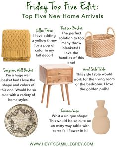 Friday Top Five New Home Arrivals | Hey Its Camille Grey #newarrivals #home #homedecor #falldecor #furniture #home