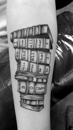 Super cool Bookworm tattoo