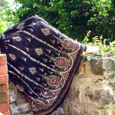 Black Maxi Skirt: Gypsy Skirt, Indian Skirt, Long Bohemian Boho Skirt Floral Sequin Crinkle Peasant Skirt Gypsy Costume. $37.00, via Etsy.