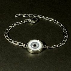 """Rogue"" Women's Stainless Steel Evil Eye Bracelet with Human Blue Eye"