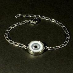 """Rogue"" Women's Stainless Steel Evil Eye Bracelet with Human Blue Eye"