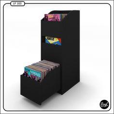 """Vinyl Bop record shelves, holds 280. / Mueble con capacidad para 280 discos de 12"""". Dimensiones: - Alto: 122 cm - Ancho: 42 cm - Profundidad: 52 cm Guías de cajón reforzadas y con freno antigolpes. Precio: 290 €. Contacto: vinylbop@gmail.com"""