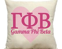 Gamma Phi Beta Heart Natural Cotton Cotton Canvas Sorority Pillow