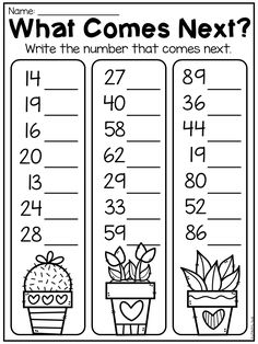 Number order worksheet for first grade. Students write the number that comes after each number. Before and after worksheet. English Worksheets For Kindergarten, First Grade Math Worksheets, Place Value Worksheets, Phonics Worksheets, Kindergarten Learning, 1st Grade Math, Reading Worksheets, Teaching Math, Activities For 1st Graders