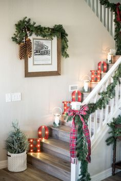 the look Give your stairs some holiday theatrics with vintage-inspired marquee letters.Give your stairs some holiday theatrics with vintage-inspired marquee letters. Merry Little Christmas, Simple Christmas, Christmas Home, Christmas Lights, Christmas Wreaths, Christmas Vacation, Christmas Cactus, Christmas Ideas, Christmas 2019