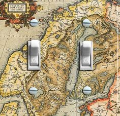 NORWAY & SWEDEN Vintage Map Switch Plate by VintageSwitchPlates