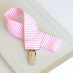Pacifier Clip in Pink Stripe