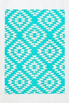Costa Geo 5x7 Rug in Turquoise - Urban Outfitters £69