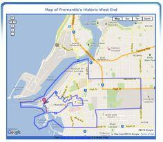 Fremantle's Historic West End Map - Boundaries of the Historic West End of Fremantle, Western Australia Perth Australia, Western Australia, Palmyra, Local Events, West End, Maps, City, Google, Blue Prints