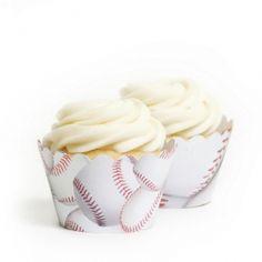Baseball Cupcake Wrappers BULK (12 Wraps)