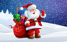 Download wallpapers Santa Claus, New Year, art, winter, snow, Christmas, gifts