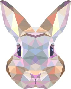 A geometric wall sticker of a rabbit face. Brilliant design from our collection of rabbit wall stickers to decorate your bedroom or living room or let your children enjoy it and apply it on the walls of your kid's bedroom or nursery! Geometric Drawing, Geometric Shapes, Geometric Animal, Motif Photo, Polygon Art, Quilt Modernen, Bunny Art, Geometric Designs, String Art