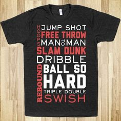 d67dc8d50 Basketball Typographic (Red and White) - Sport Spirit - Skreened T-shirts,