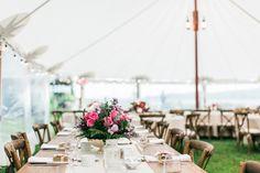 Rustic, nautical tent reception decor