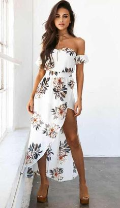 Cheap white party dress, Buy Quality party dresses directly from China vestido maxi Suppliers: Summer Women Bobo Slash Neck Beach Casual Floral Print Off the Shoulder Strapless Femme Vestidos Maxi White Party Dress White Maxi Dresses, Cute Dresses, Casual Dresses, Beach Dresses, White Floral Dress, Dress Beach, Long Summer Dresses Casual, Dress Summer, Maxi Dresses For Teens