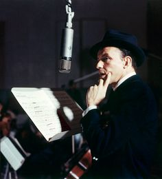 Frank Sinatra photographed by Sid Avery during the recording of his album Close to You, 1957