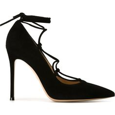 Gianvito Rossi Femi Pumps ($651) ❤ liked on Polyvore featuring shoes, pumps, black, black lace up pumps, black suede pumps, pointy toe stiletto pumps, black lace up shoes and black shoes
