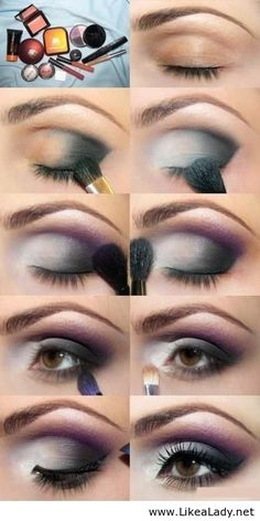 Eye makeup with grey and purple