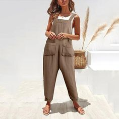 Plus Size Bohemian Solid Spaghetti-Strap Pockets Jumpsuits Backless Jumpsuit, Jumpsuit With Sleeves, Casual Jumpsuit, Striped Jumpsuit, Jumpsuits For Women, Leggings Are Not Pants, Ideias Fashion, Clothes, Three Dimensional