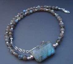 Labradorite Pearl Gemstone Sterling Silver Necklace by eedesigns05, $54.99