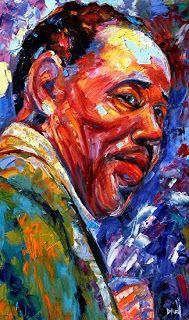 "Daily Painters Abstract Gallery: Abstract Jazz Painting Art,Music Art Portraits ""Duke Ellington"" by Texas Artist Debra Hurd"