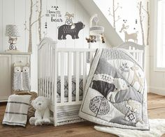 Levtex Baby Bailey Charcoal and White Woodland <--- Iffy about this room. Definitely like items though ~AS