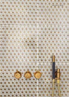 Loves these tiles with the brass faucets. Made A Mano Collection// Gold pattern bathroom tiles// Bad Inspiration, Bathroom Inspiration, Interior Inspiration, Home Design Decor, House Design, Interior Design, Design Interiors, Made A Mano, White Marble Bathrooms