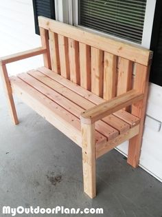 DIY Simple Garden Bench | MyOutdoorPlans | Free Woodworking Plans and Projects, DIY Shed, Wooden Playhouse, Pergola, Bbq by lina #woodworkingplans