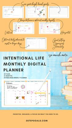 monthly for intentional living Planner Book, Weekly Planner, Letter To Yourself, Create Yourself, Weekly Goals, Image Stickers, Bullet Journal Layout, Planner Organization, What You Can Do