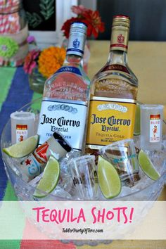 Tequila Shot Bar Setup. Perfect addition to an outdoor summer party!