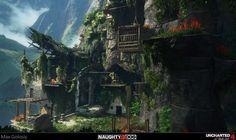 Uncharted 4 Jungle Elevator, Max Golosiy on ArtStation at https://www.artstation.com/artwork/6k6lr