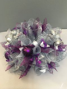 Christmas centerpiece, Purple & silver centerpiece, Table centerpiece, Candle centerpiece, Holiday centerpiece by DecoWreathBoutique on Etsy