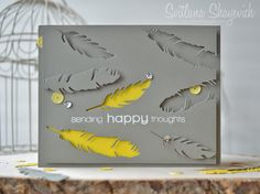 Another for the current CASE Study challenge. Although I dislike yellow I just love combination of grey and yellow. Wedding Cards Handmade, Greeting Cards Handmade, Cool Cards, Diy Cards, Feather Cards, Leaf Cards, Die Cut Cards, Shaker Cards, Masculine Cards