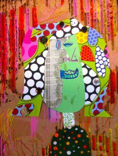 Recyled materials cubist portrait