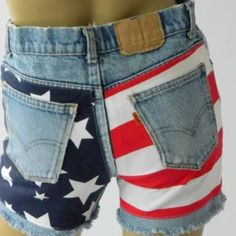 """American flag shorts Upcycled shorts by spike and Elvis rise 8 1/2"""" total length approx.  13"""", flat 14"""", I bought online didn't fit me! I'm a 4 so these would be great for 0-2 women's size. So cute!!! Levi's Jeans"""